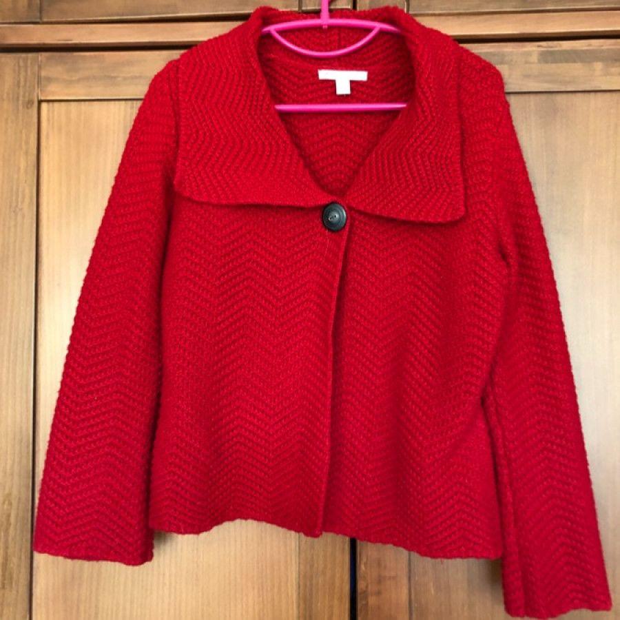 ژاکت تک کمه بافت قرمز