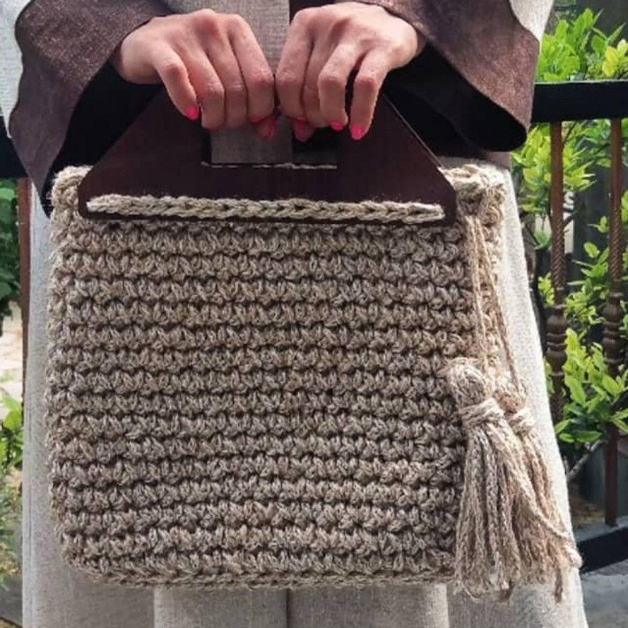 کیف کنفی دسته چوبی